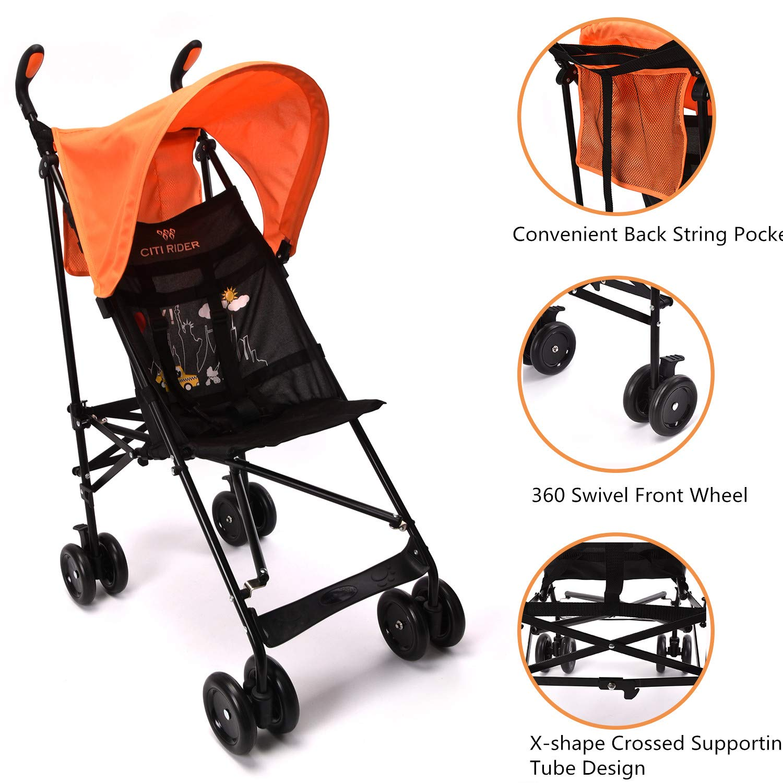 Wonder buggy Lightweight Baby Jumbo Umbrella Stroller with Rounded Hood (Orange) by Wonder buggy (Image #7)
