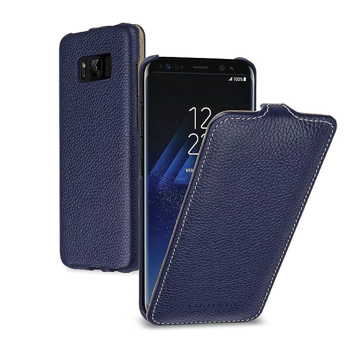 buy online 40263 33dc3 TETDED Premium Leather Case for Samsung Galaxy S8, Vertical Flip, Navy Blue