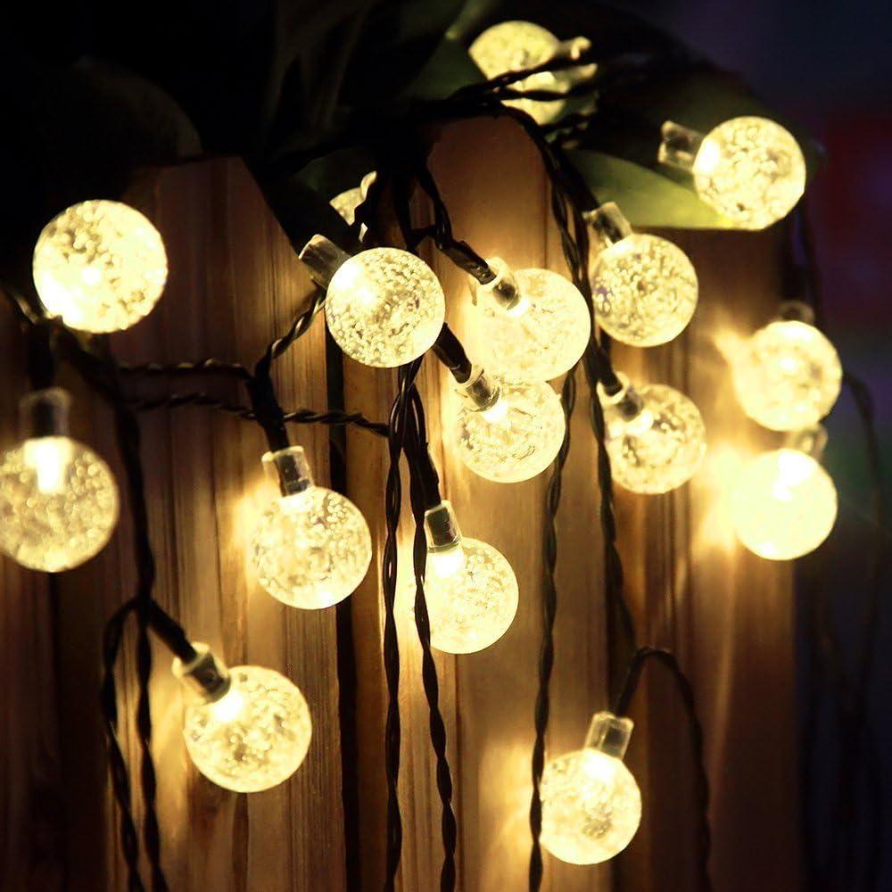 EUGO 30 LED 6.5M Luz Solar Gurinaldas Luminosas Blanco Cálido Bolas de Cristal Para Decoración de Navidad, Jardín, Patio, Fiesta, Dormitorio, Reunión Familiar(Energía Solar): Amazon.es: Iluminación