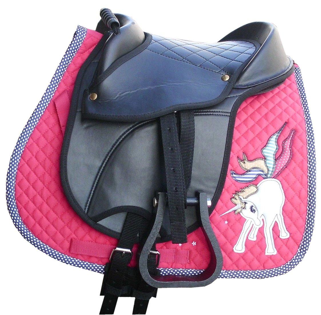 AMKA Shetty Reitkissen MARINA komplettes Set mit Schabracke Unicorn in pink mit Einhorn, Riemen, Steigbügel und Sattelgurt | auch für Holzpferde geeignet Die Lieferung der Steigbügel kann variieren!