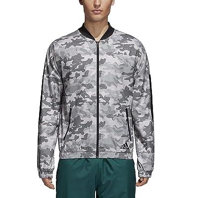 adidas Athletics Men's Bomber Lightweight Camouflage Woven Jacket (Large, Chalk Pearl/Black) at Amazon Men's Clothing store