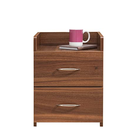 0288a38a279b Laura James Bedside Table Nightstand Unit Cabinet with 2 Drawers Premium ( Walnut)  Amazon.co.uk  Kitchen   Home