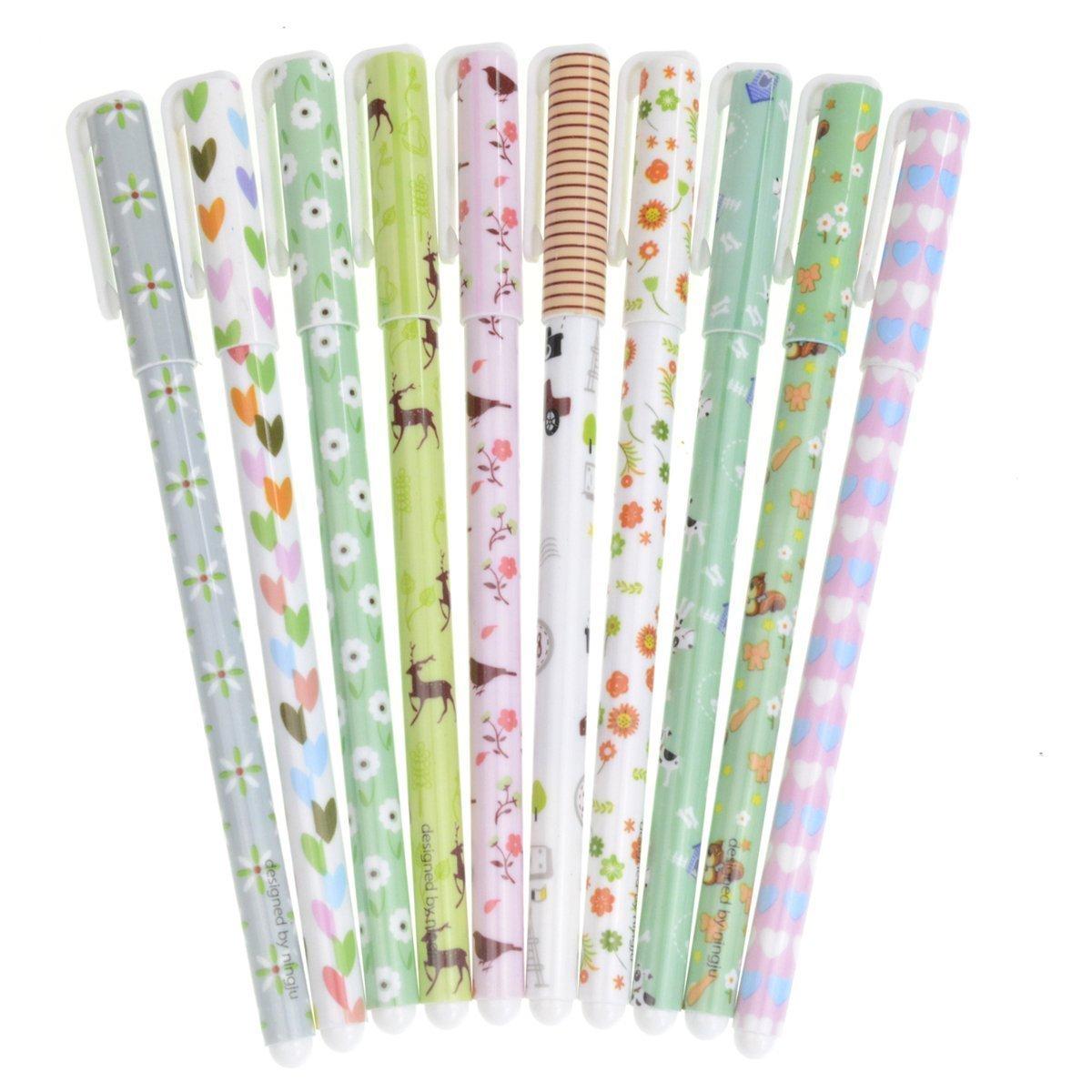 LEFV™ Premium Gel Ink Roller Ball Pens Fine Point Assorted Colors 10 Pack Set Cute Korean Cartoon Floral Pin Type Wholesale Kawaii Stationery for Office Student Girls Boys Teens Artist