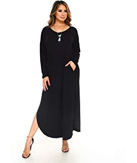 8fdae022ff5 Isaac Liev Women's Long Sleeve Tunic Dress with Pockets and Side Slits