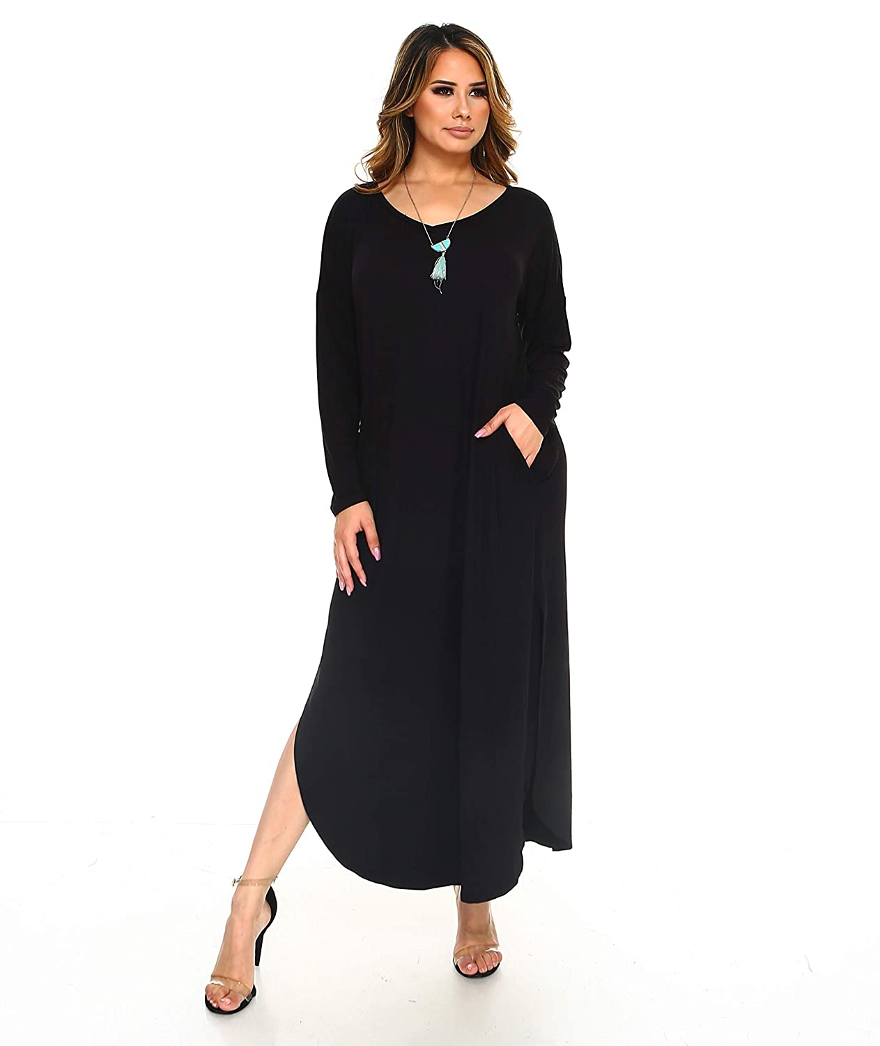 8ae1c94c6c Isaac Liev Women's Long Sleeve Tunic Dress with Pockets and Side Slits at Amazon  Women's Clothing store: