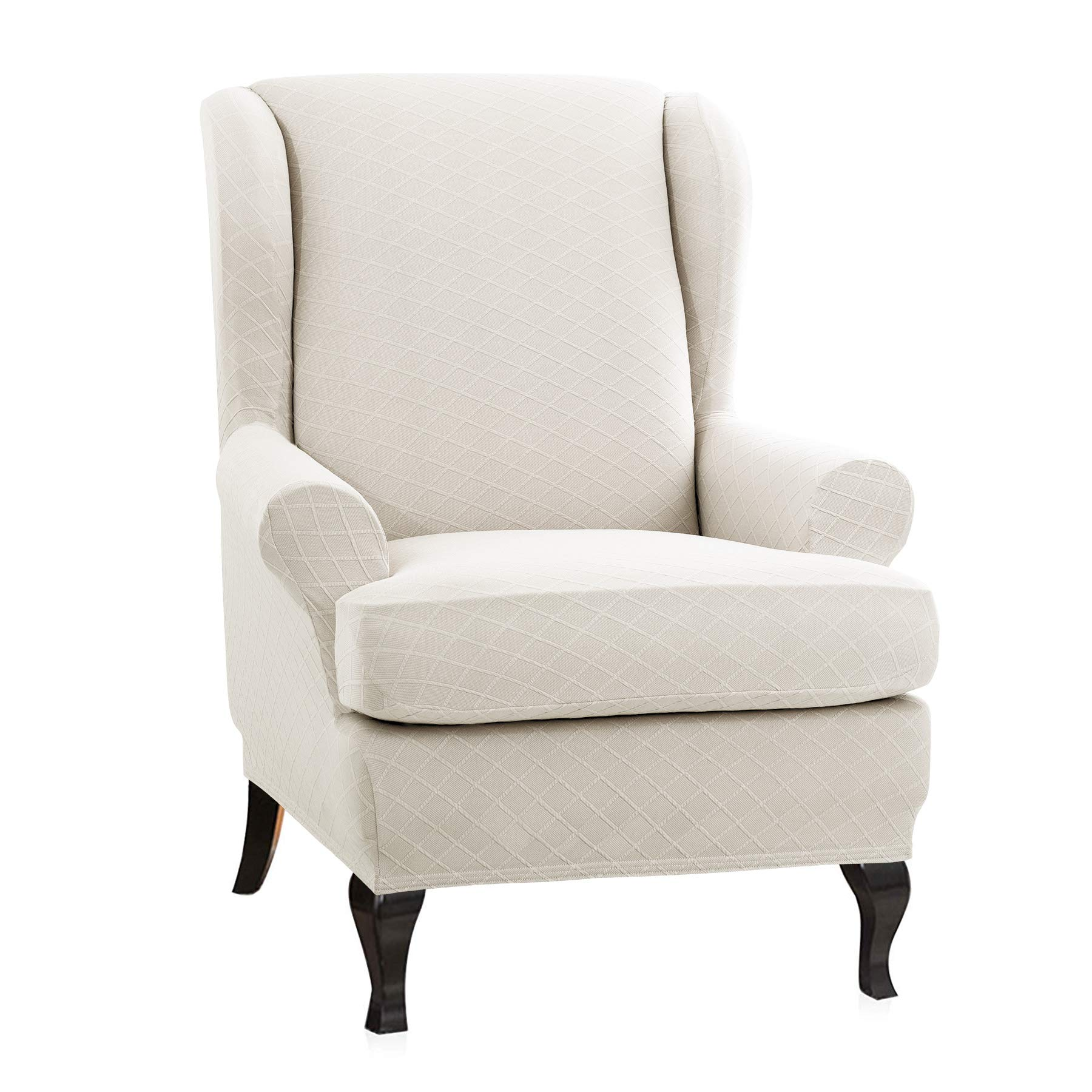 CHUN YI 2-Piece Rhombus Jacquard Wing Chair Cover,Universal Wing Back Wingback Armchair Covers Chair with Arms Slipcovers Furniture Protector (Wing Chair, Cream White)