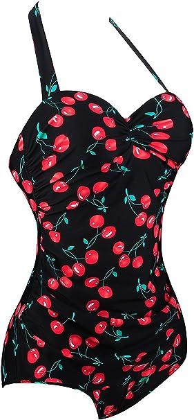 Angerella Vintage 50s Pin Up Halter Un Pezzo Costume da Bagno Monokinis