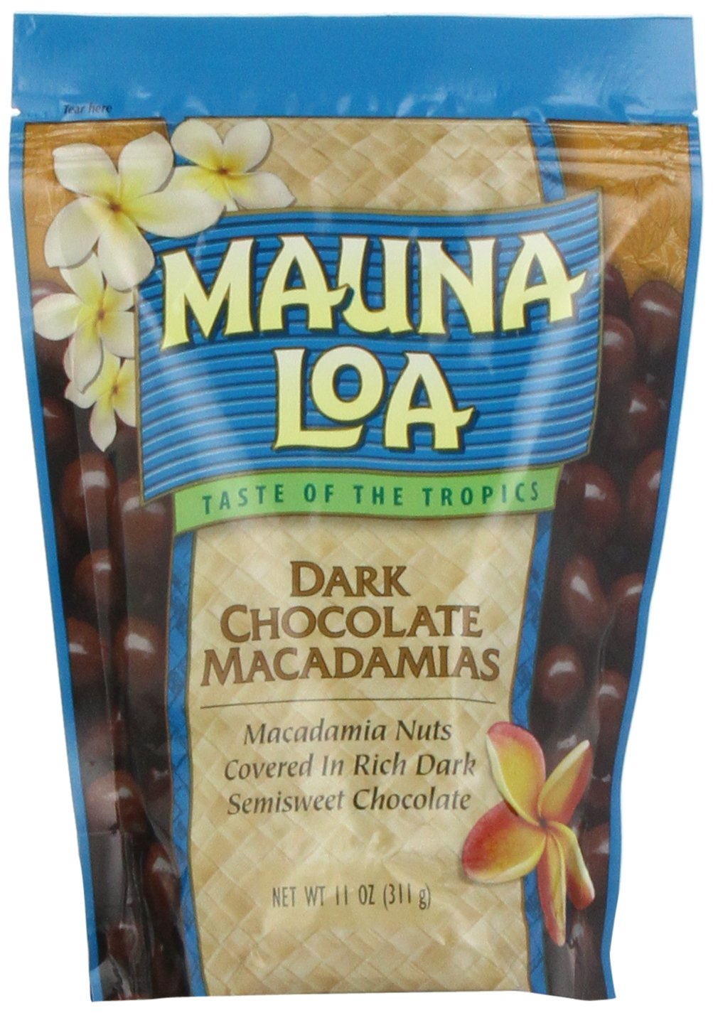 Mauna Loa Dark Chocolate Covered Macadamia Nuts Bag, 11-Ounce (Pack of 2)