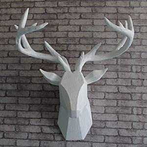 TJZY Wall Sculptures-Deer Head Wall Decoration Wall Mounted Woodland Deer Simulation Resin Wall Hanging Animal Wildlife Home Decor Decoration Statue Deer Antler Antler Male