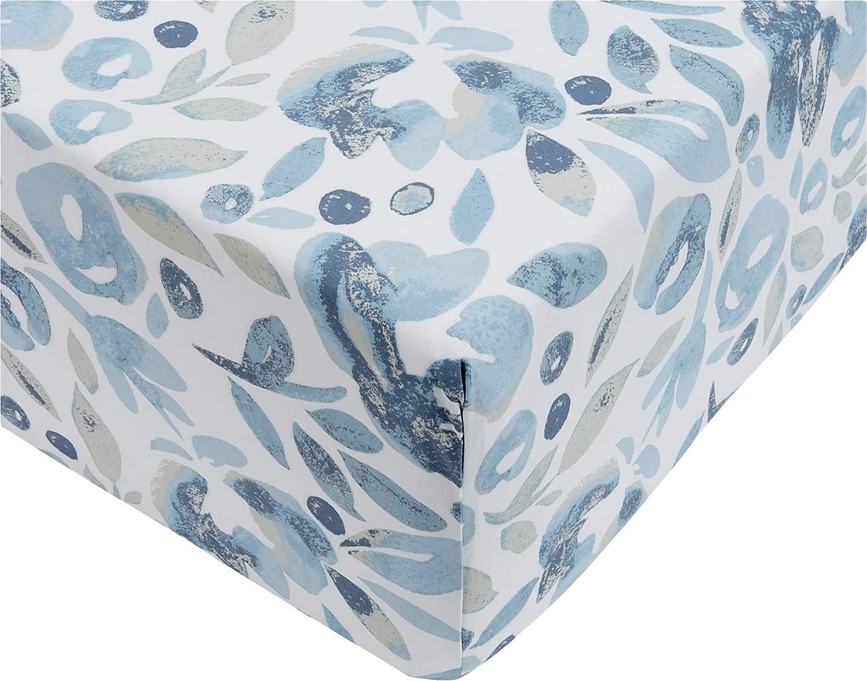 AmazonBasics - Sábana ajustable de microfibra premium (90 x 200 cm), azul niebla acuarela