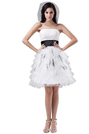 Amazoncom Vogue007 Womens Strapless Satin Pongee Ostrich Feather