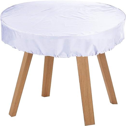 KaufPirat Premium Fundas para Mesa Redonda Ø 140x15 cm Cubierta Impermeable Funda para Mesa para Mobiliario de Exterior, Oxford Fundas para Proteger Muebles de Jardín Blanco: Amazon.es: Jardín