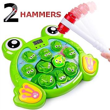 Rolimate Juego Interactivo Whack A Frog Cumpleaños 2 3 4 5 6 7 años Actividades para niños y niñas Juegos Juguete con 2 martillos para niños Bebés ...