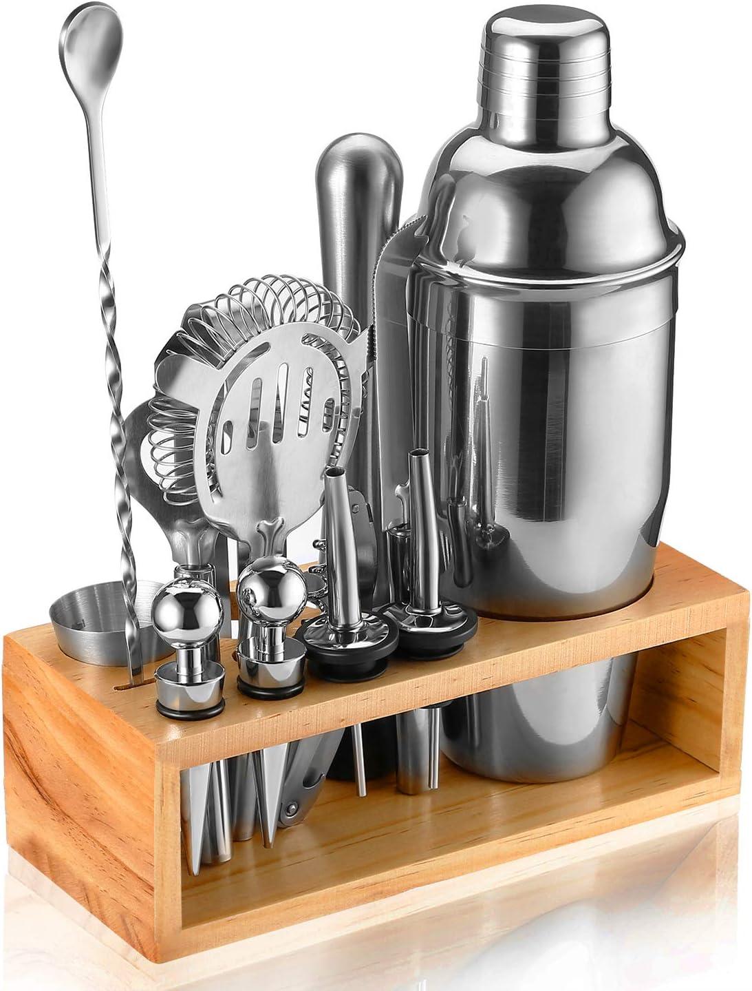 Cocktail Shaker Set//12pack// Bar Pub Mixology Bartender Kit w// Wooden Stand