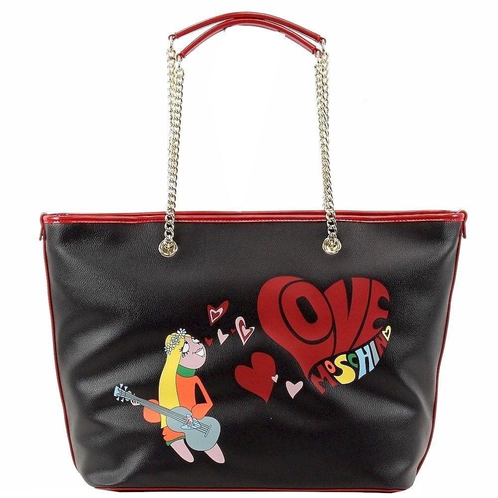 Love Moschino Women's Hippie Girl Love Stamped Black Tote Handbag