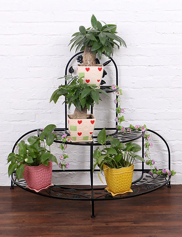 LB huajia ZHANWEI Einfache Eisen Creative Fold Mehrschichtige Boden Typ Blume Rack Balkon Boden Pflanzer Regal Europäische Moderne Wohnzimmer Indoor Flower Rack (Farbe : A)