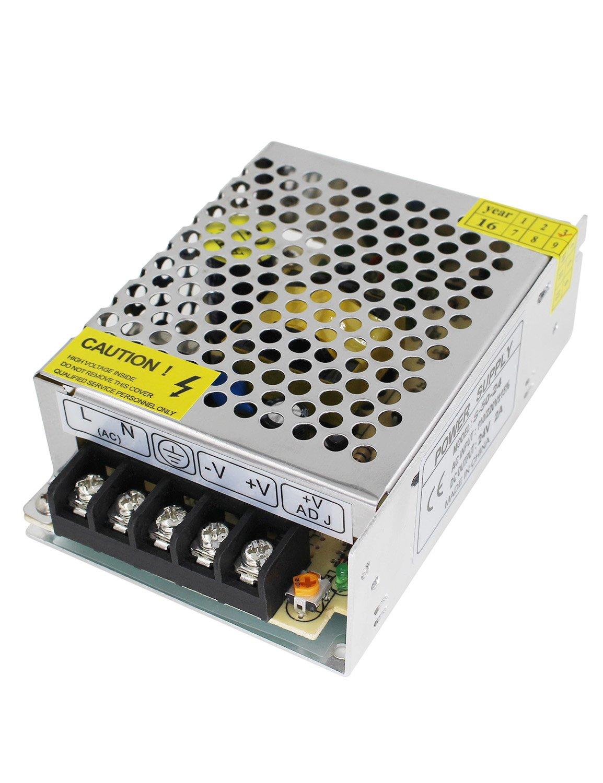 Aiposen 110V/220V AC to DC 24V 2A 48W Switch Power Supply Driver,Power Transformer for CCTV camera/ Security System/ LED Strip Light/Radio/Computer Project(24V 2A)