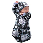 Baby Be Mine Newborn Gown and Hat Set Layette Romper Coming Home Outfit (Newborn, Flore)