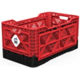 BIGANT Heavy Duty Collapsible & Stackable Plastic Milk Crate - IP734235, 23.8 Gallons, Large Size, Red, Set of 1, Absolute Snap Lock Foldable Industrial Storage Bin Container Utility Tote Basket