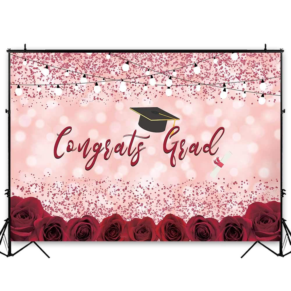 Funnytree 8x6ft Durable Fabric Graduation Party Backdrop No Wrinkles Class of 2019 Pink Bokeh Spots Floral Photography Background Congrats Grad Prom Roses Flower Decorations Photo Booth Props Banner