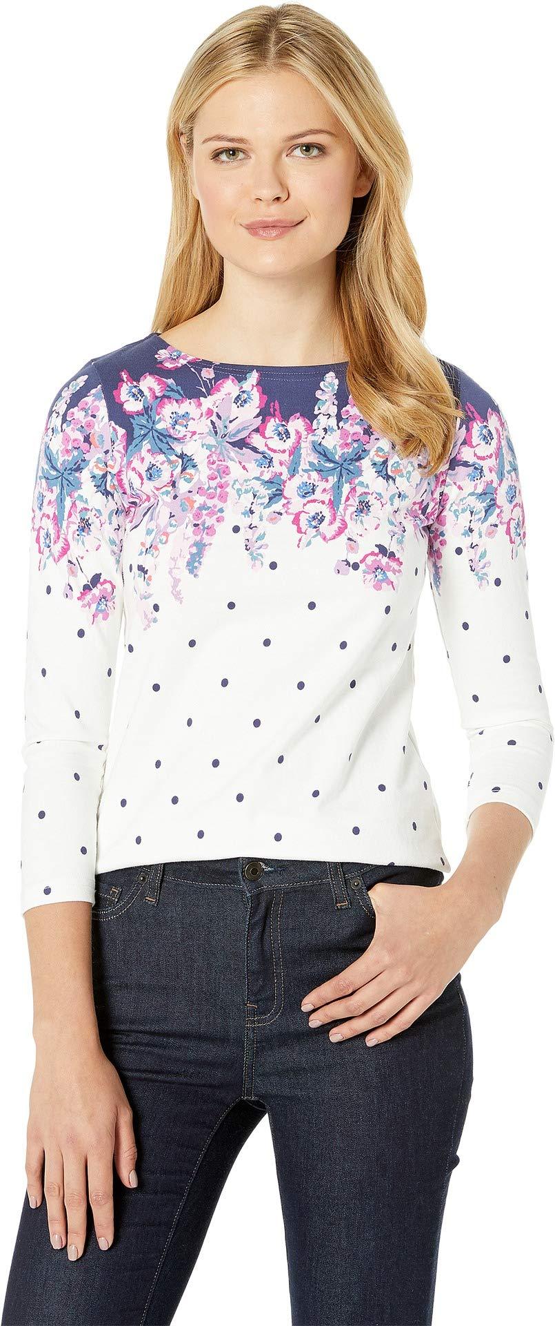 Joules Women's Harbour Print Jersey Top Cream Floral Spot 2