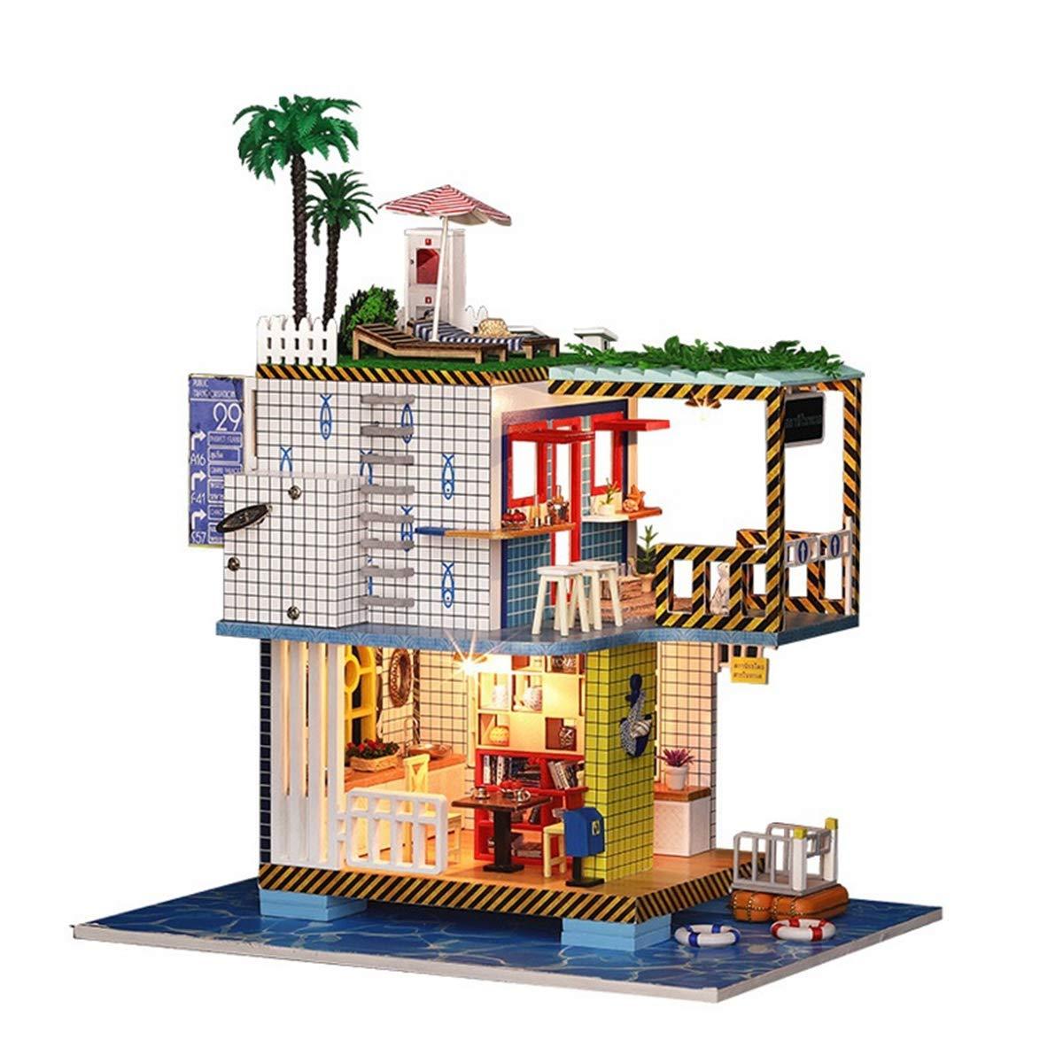 AHWZ Casa de muñecas DIY, casa de muñecas de Madera Mini Hut Kit Creativo cumpleaños Regalo para niña estación del mar del niño