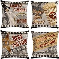 Gspirit 4 Pack Retro Cine Algodón Lino Throw Pillow Case Funda de Almohada para Cojín…