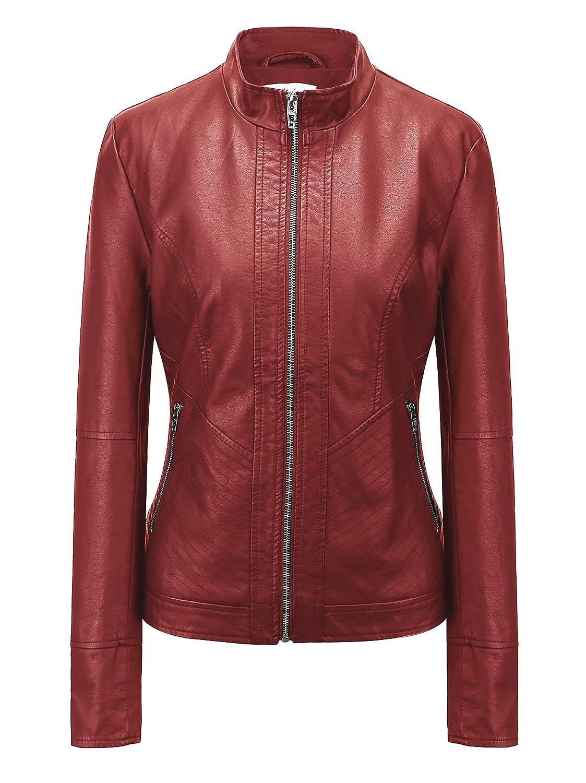 5ea04caaf90 Fasbric Women s Faux Leather Long Sleeve Zipper Short Moto Biker Zipper Biker  Jacket Coat at Amazon Women s Coats Shop