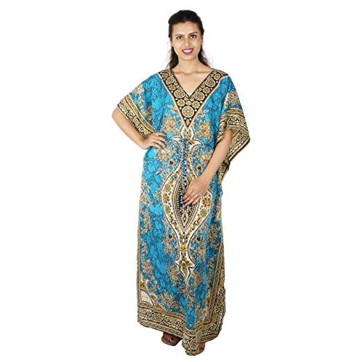 3eda50ad21 Floral Print Long Caftan Tunic Dress Maxi Kaftan Plus Size Cover up Dresses  for Women Aqua