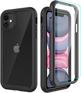 CellEver Compatible with iPhone 11 Case, Clear Full Body Heavy Duty Protective Case Anti-Slip Full Body Transparent Cover Designed for iPhone 11 (2X Glass Screen Protector Included) - Black