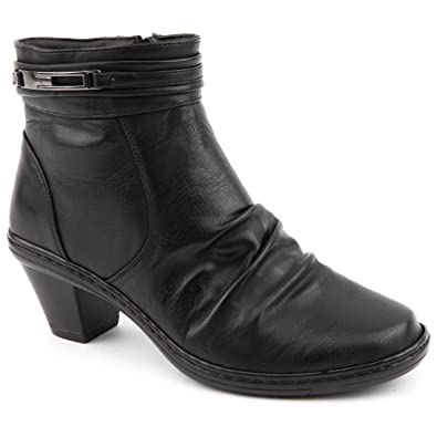 0a45a901c351 Ladies Caravelle Wide Fit Daisy Black Ankle Boots Size 8  Amazon.co ...