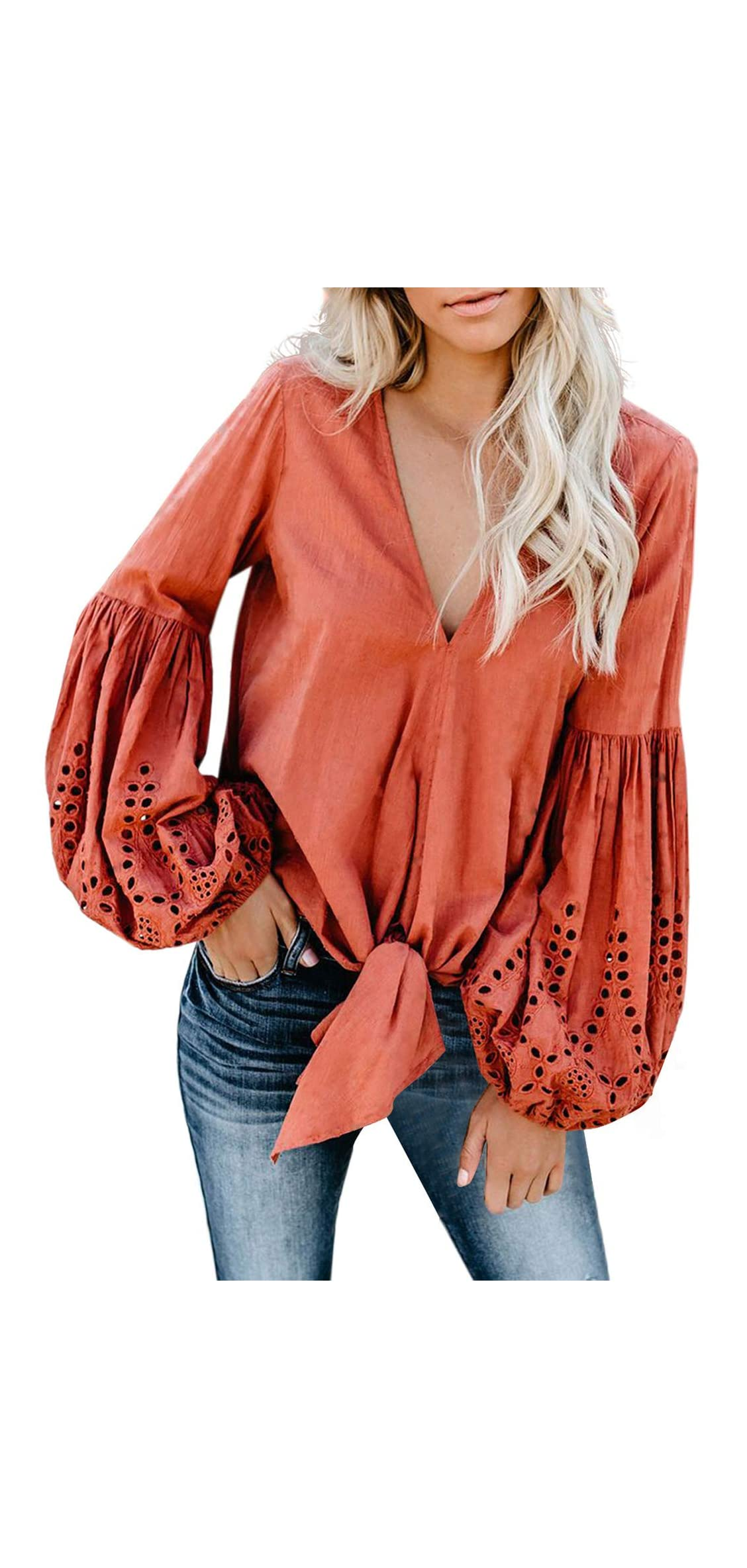 Womens Casual V Neck Balloon Long Sleeve Tops Hollow Out