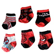 Marvel Spider-Man Superhero Infant Baby Boys Socks - 6 Pack (0-6 Months)
