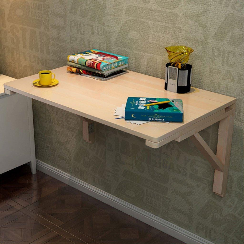 LTJTVFXQ-shelf Wooden Wall Computer Table Wall Shelf Folding Wall Table Ledge Folding Desk Creative Wall Shelf Length and Width 80 50 (Wood varnish)