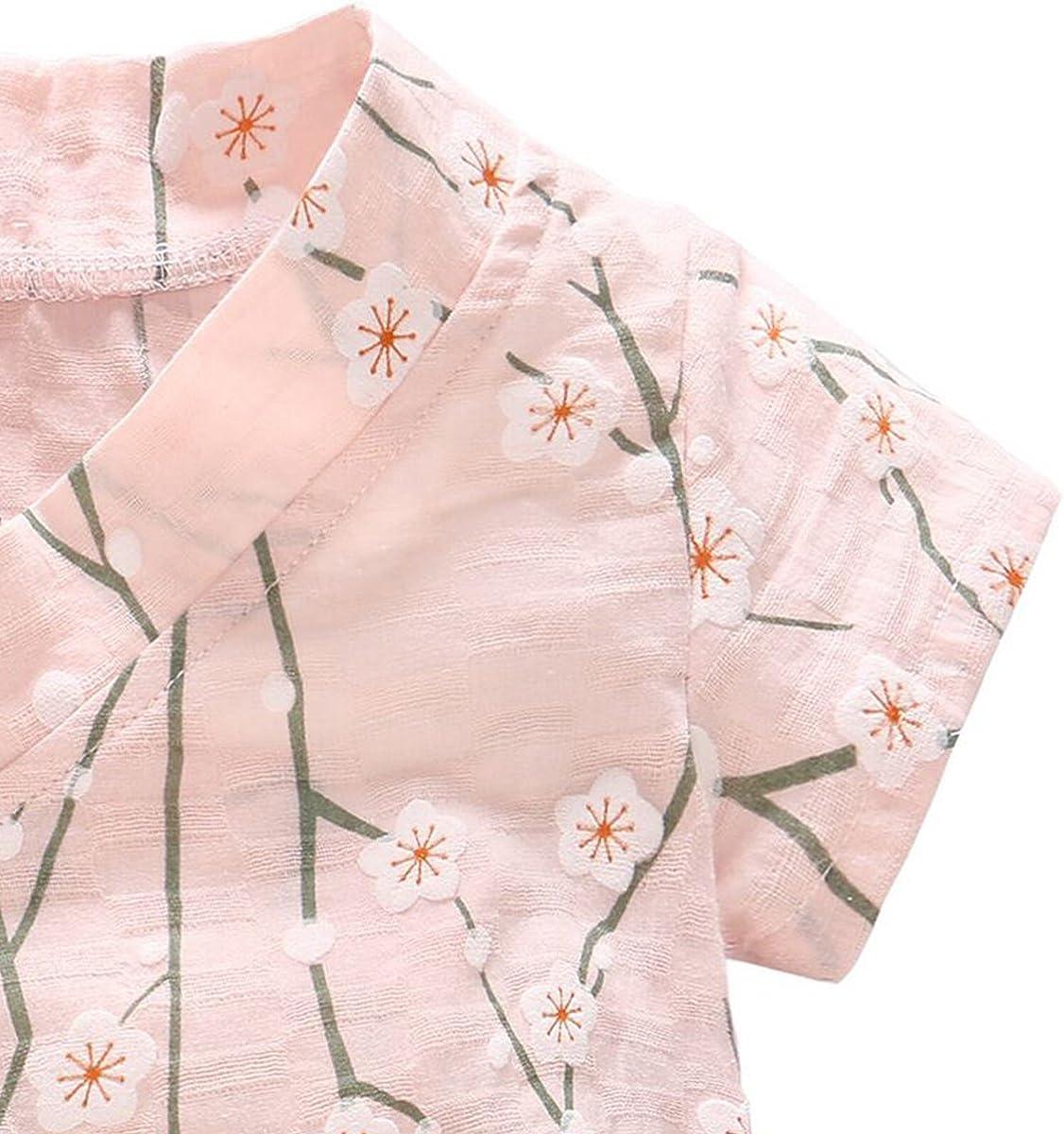 DGAGA Newborn Baby Kimono Robe Organic Cotton Infant Short Sleeve Romper Pajamas