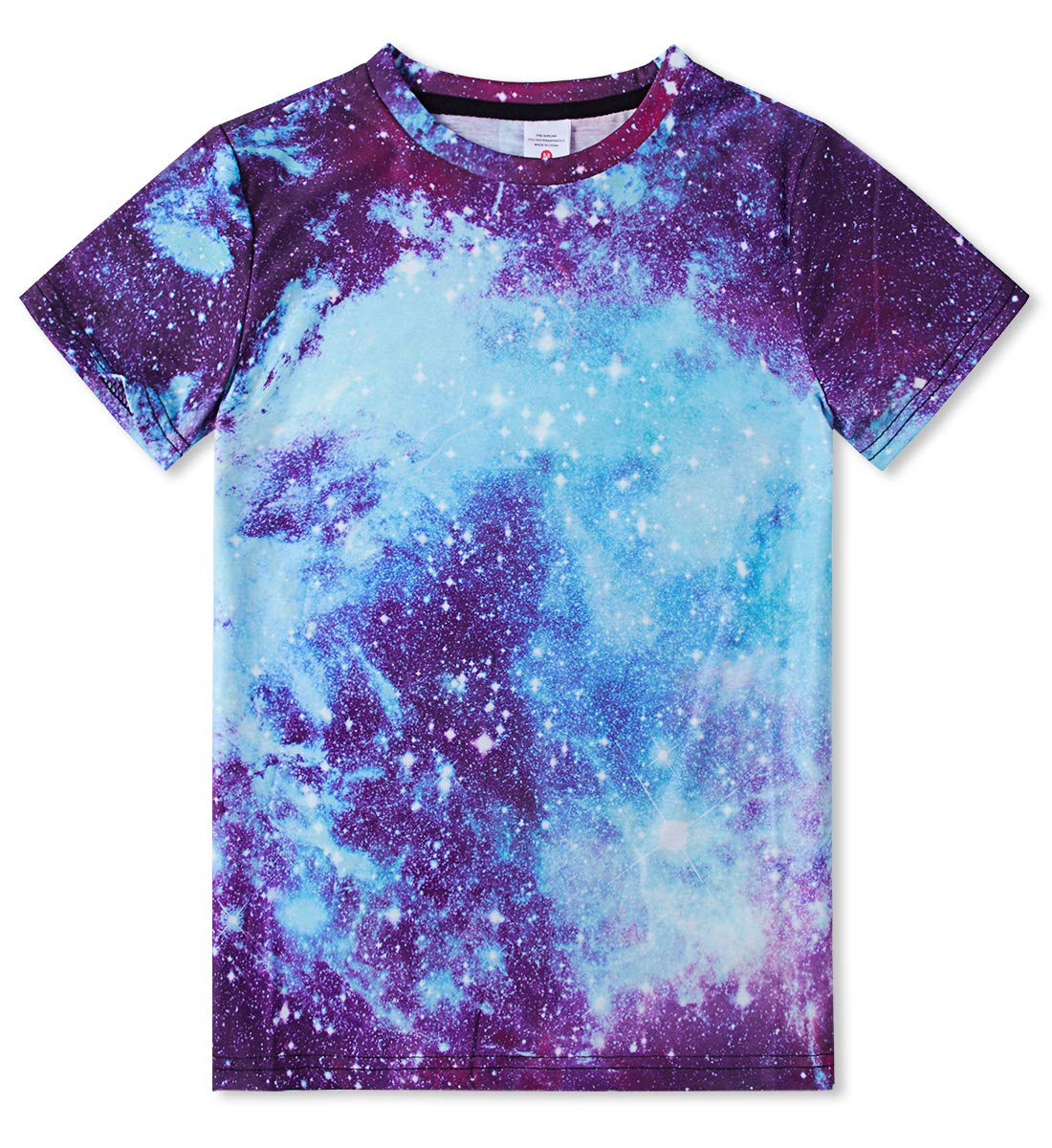 RAISEVERN 3D Printed Galaxy Tshirts Summer Casual Short Sleeve Tees T Shirt for Boys Girls Small