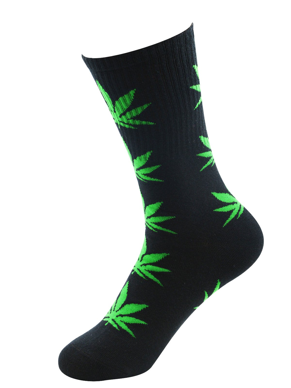 Zando Unisex Weed Leaf Printed Cotton Socks Maple Leaf Printed Socks Athletic Sports Marijuana High Crew Socks