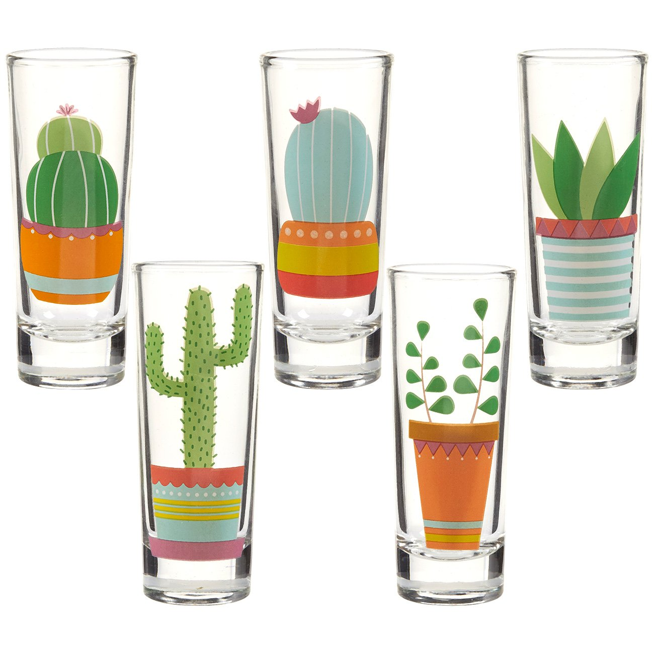 Party Shot Glasses - Cactus Shot Glasses with Colorful Print for Cinco de Mayo Tequila Fiesta- Set of 5, 2 oz Each by Blue Panda