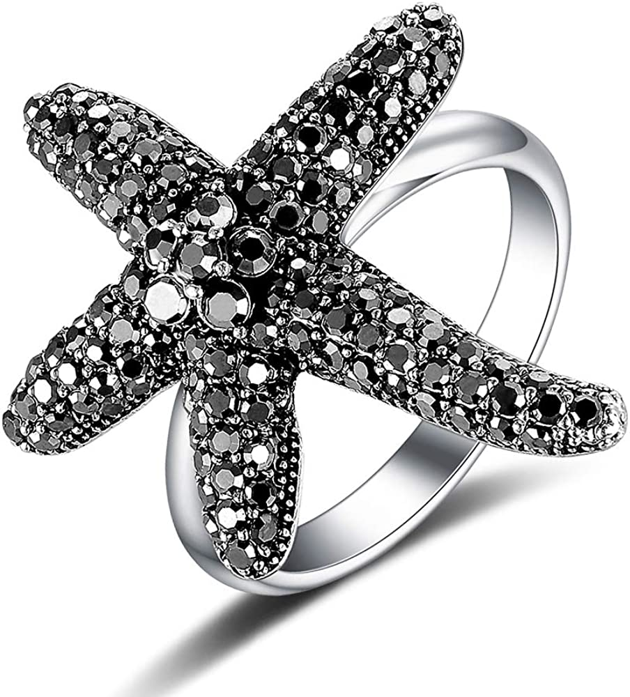 Mytys Vintage Fashion Flower Rings Seastar Seafish Ring Black Marcasite Stones Paved Statement Rings for Women Girls