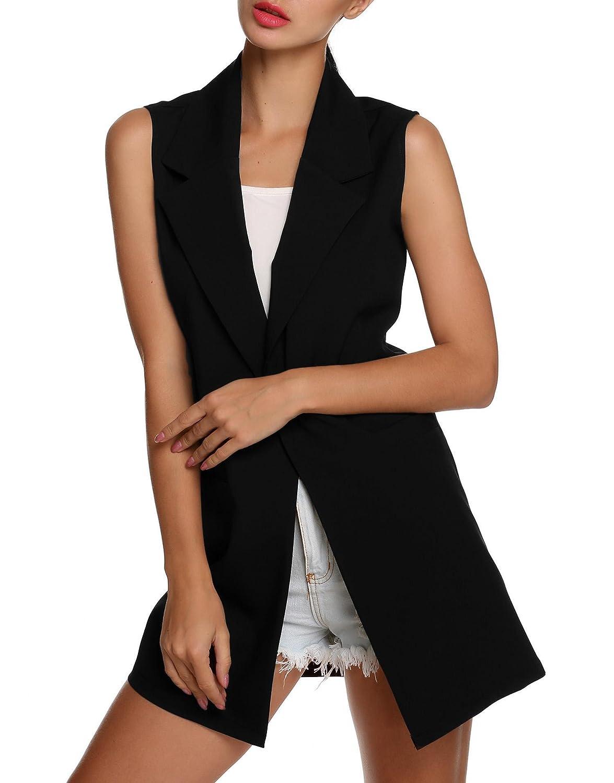 Bifast Women Sleeveless Lapel Collar Pocket Vest Coat Long Jacket Waistcoat Tops