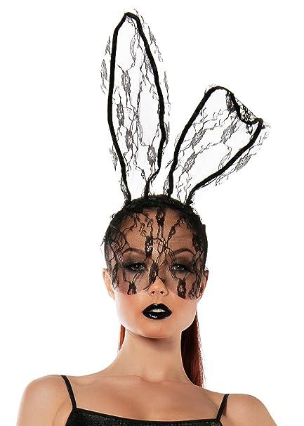 Starline Women's Lace Bunny Mask Headband Accessory, Black, One Size