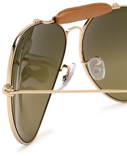 01c825025b Amazon.com  Ray-Ban AVIATOR CRAFT - ARISTA LIGHT BROWN LEATH Frame GREEN  GRADIENT BLUE+ POLAR AR Lenses 58mm Polarized  Ray-Ban  Clothing