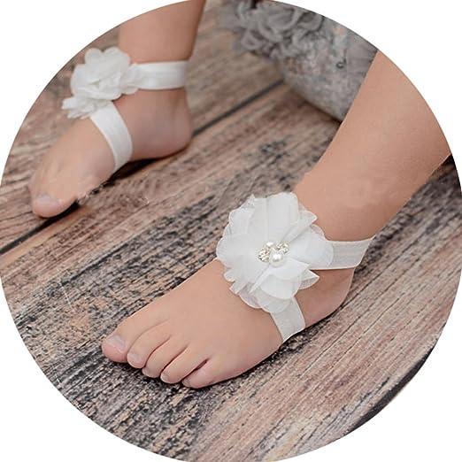 bf9061af3df4 Amazon.com  Miugle Baby Girls Chiffon Pearl Diamond Flower Barefoot ...