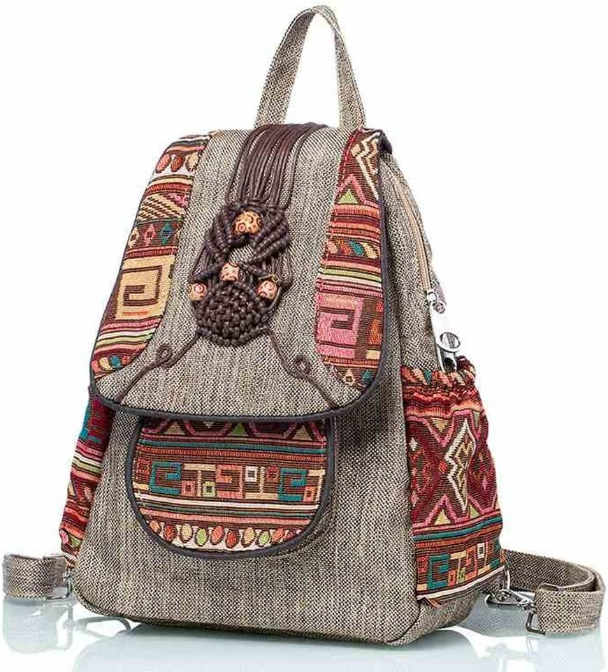 C/&Q CQ Retro Cloth Knapsack Hand Knitted Yunnan Style Backpack National Art Style Mens and Womens Knapsack
