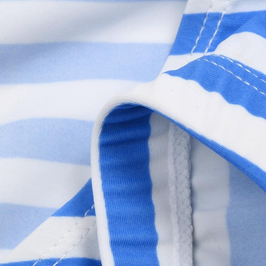 Fartido Kid Girl Navy Blue Stripe Gradient Swimsuit Bikini Sleeveless Outfits