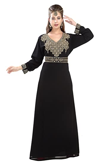 Farasha Maxi Dress For Australian Women With Golden Hand Embroidery