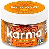 Karma Nuts Golden Turmeric Wrapped Cashews | 8 oz Jar | Whole, Wrapped Cashews | Air Roasted, No Oil | Natural, Minimally Processed | Non-GMO, Gluten-Free, Vegan, Kosher | Rich in Antioxidants + Fiber