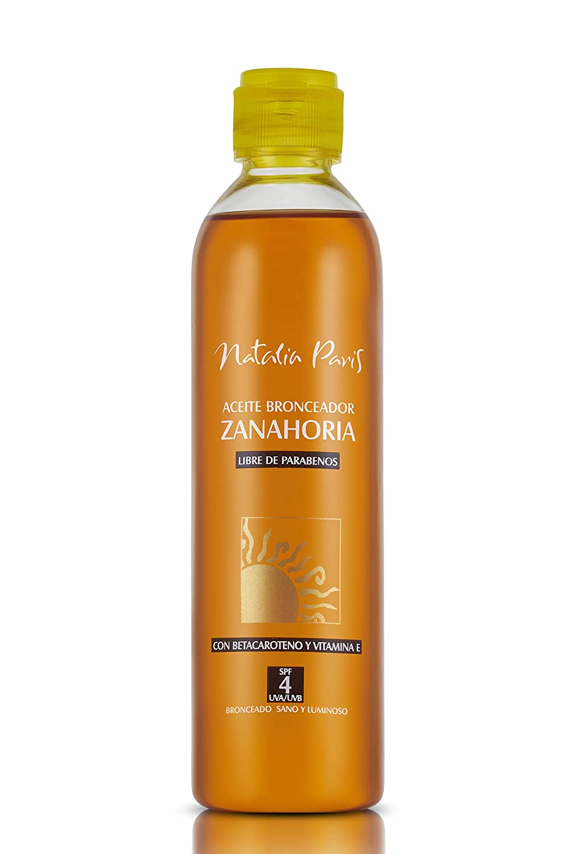 Natalia Paris Carrot Tanning Oil with Beta-Carotene and Vitamin E - SPF 4,UVA/UVB Aceite Bronceador de Zanahoria con Betacaroteno y Vitamina E, All Skin Type 8.1. fl.oz. 240ML