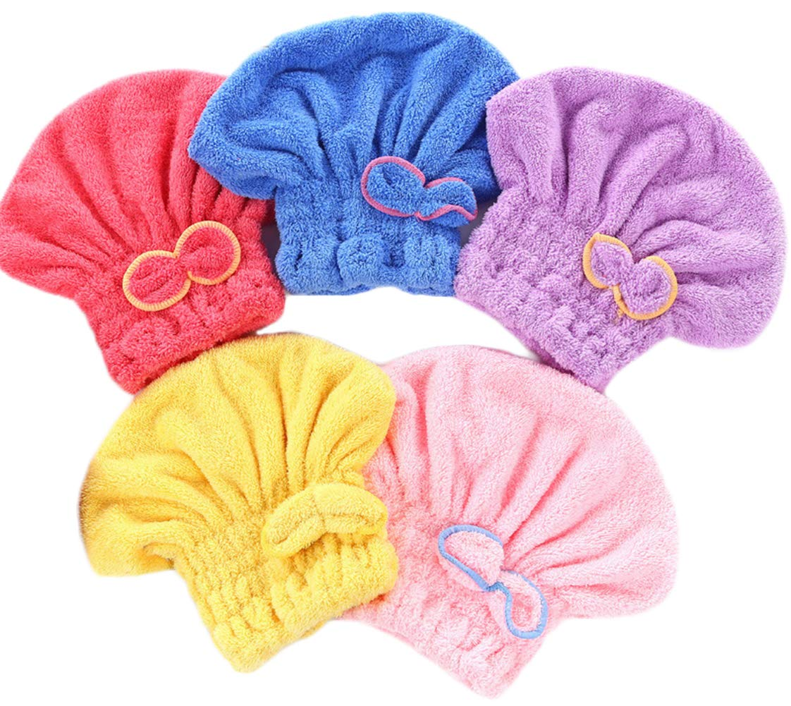 Wheelsp 5 Pack Bowknot Microfiber Hair Drying Towels,Fast Coral Velvet Drying Long Hair Turban Wrap,Absorbent Twist Turban Princess Shower Cap For Women And Children by Wheelsp