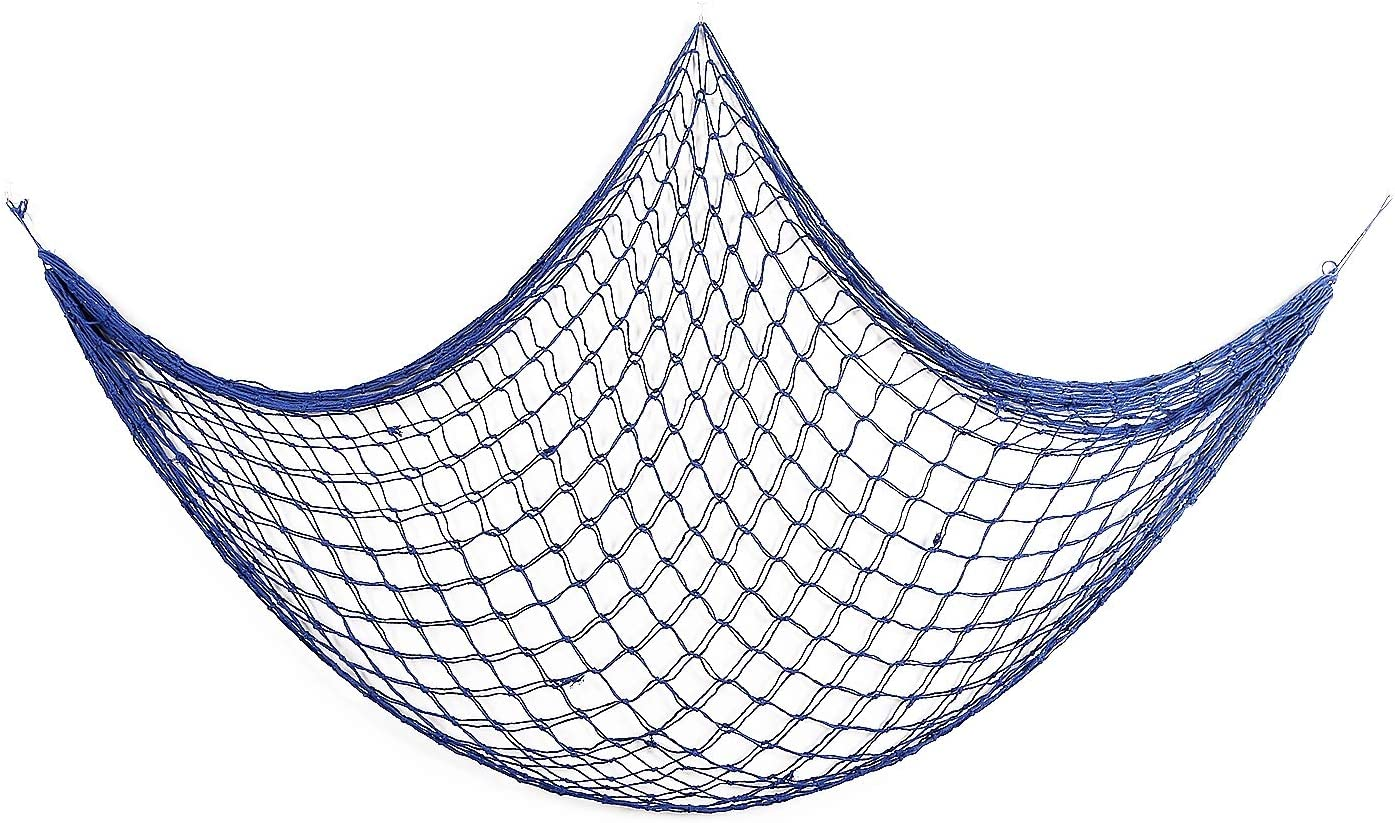 Sanlykate Decorative Fish Net, Nautical Fishing Net Decor for Party, Mediterranean Style Photographing Accessory, Natural Fishnet Decor for Wall/Table/Home, 200x100cm